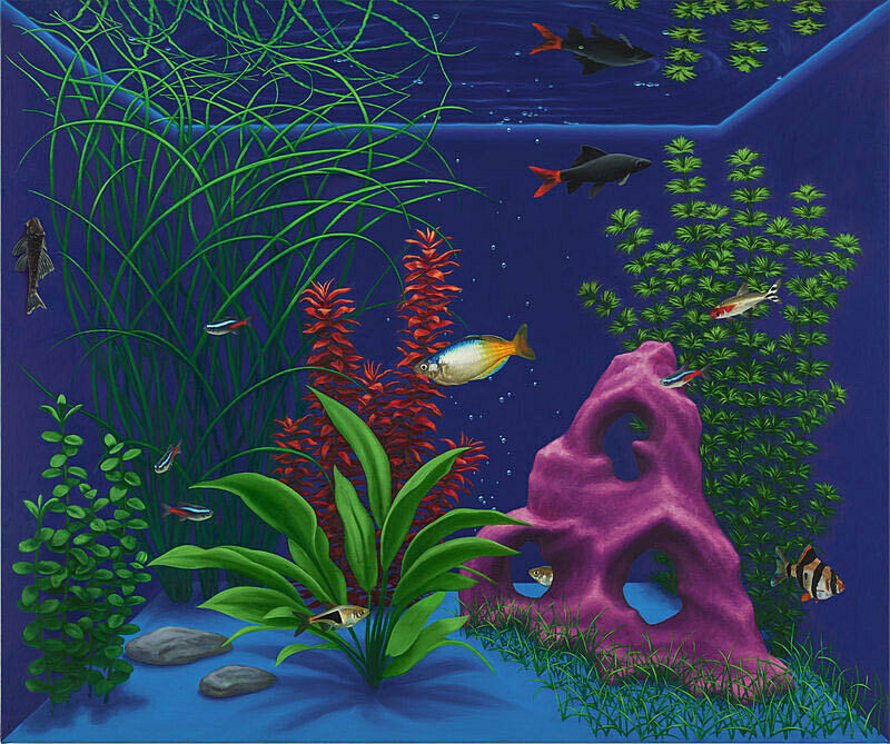 A work by Mathew Cerletty. Fish and flora are depicted in paint from the view of an aquarium