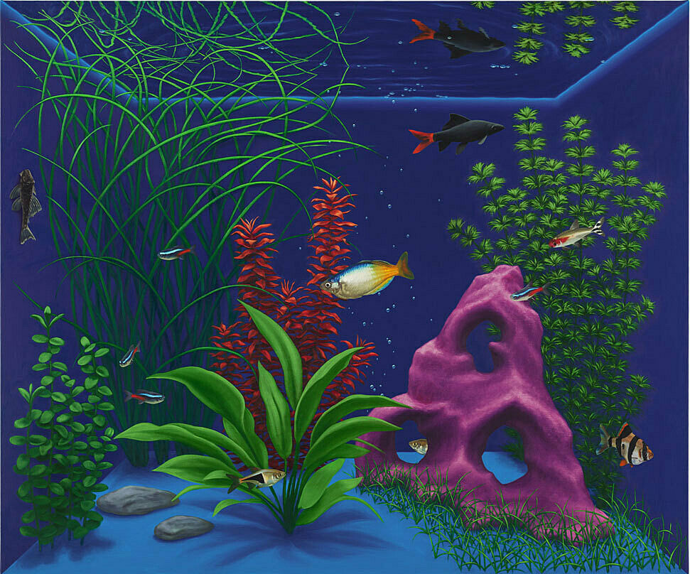 A painting by Mathew Cerletty. An aquarium depicts fish, coral, and aquatic grasses in blues, purple, and green.