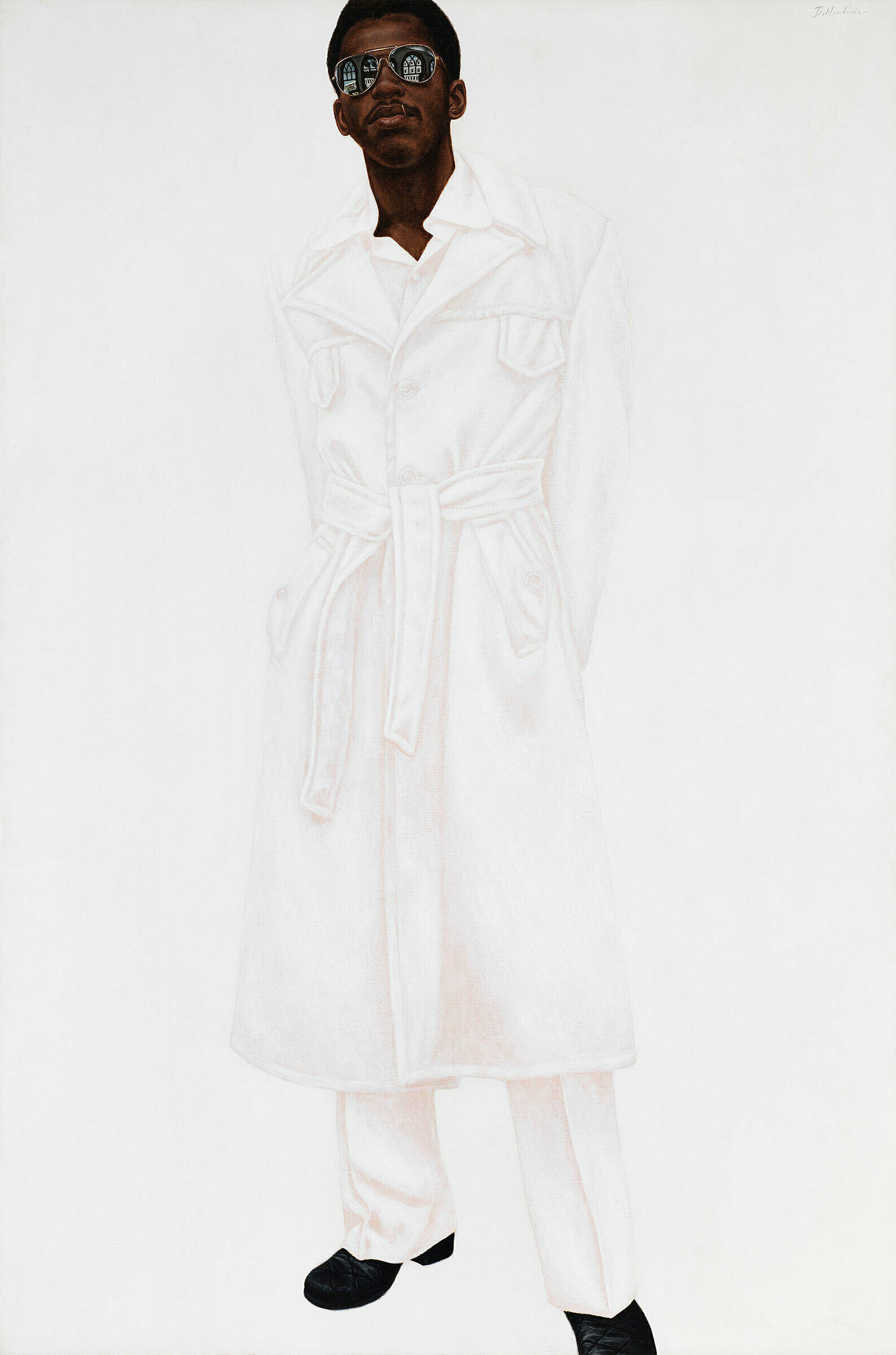 A work by Barkley Hendricks. The figure of a man stands wearing sunglasses and a white suit on a white ground.