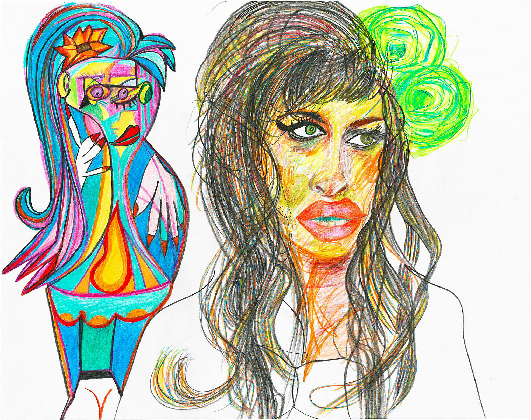 A drawing by Rachel Harrison. An abstract portrait of the late musician Amy Winehouse