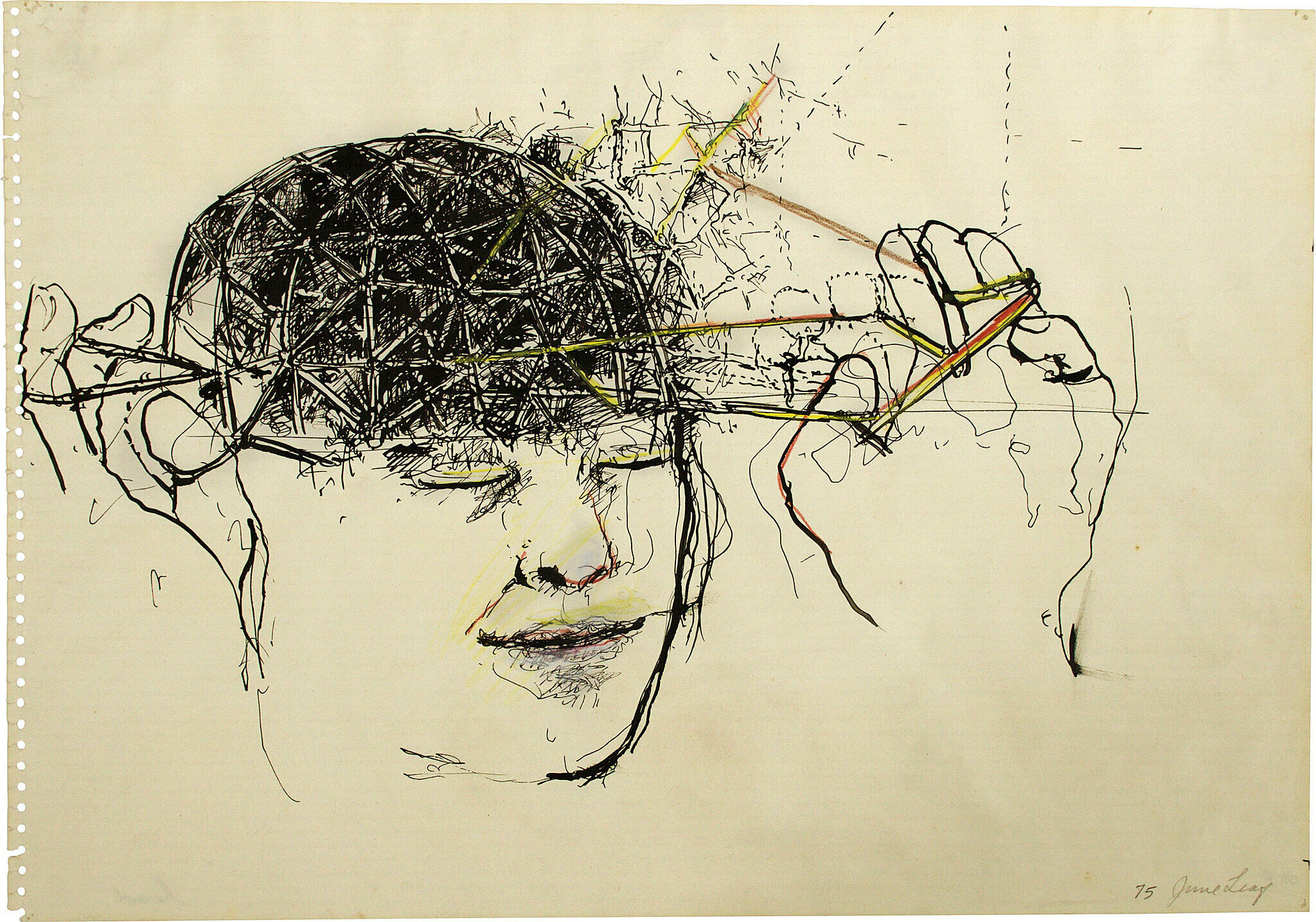 A drawing by June Leaf of a human head in black ink.