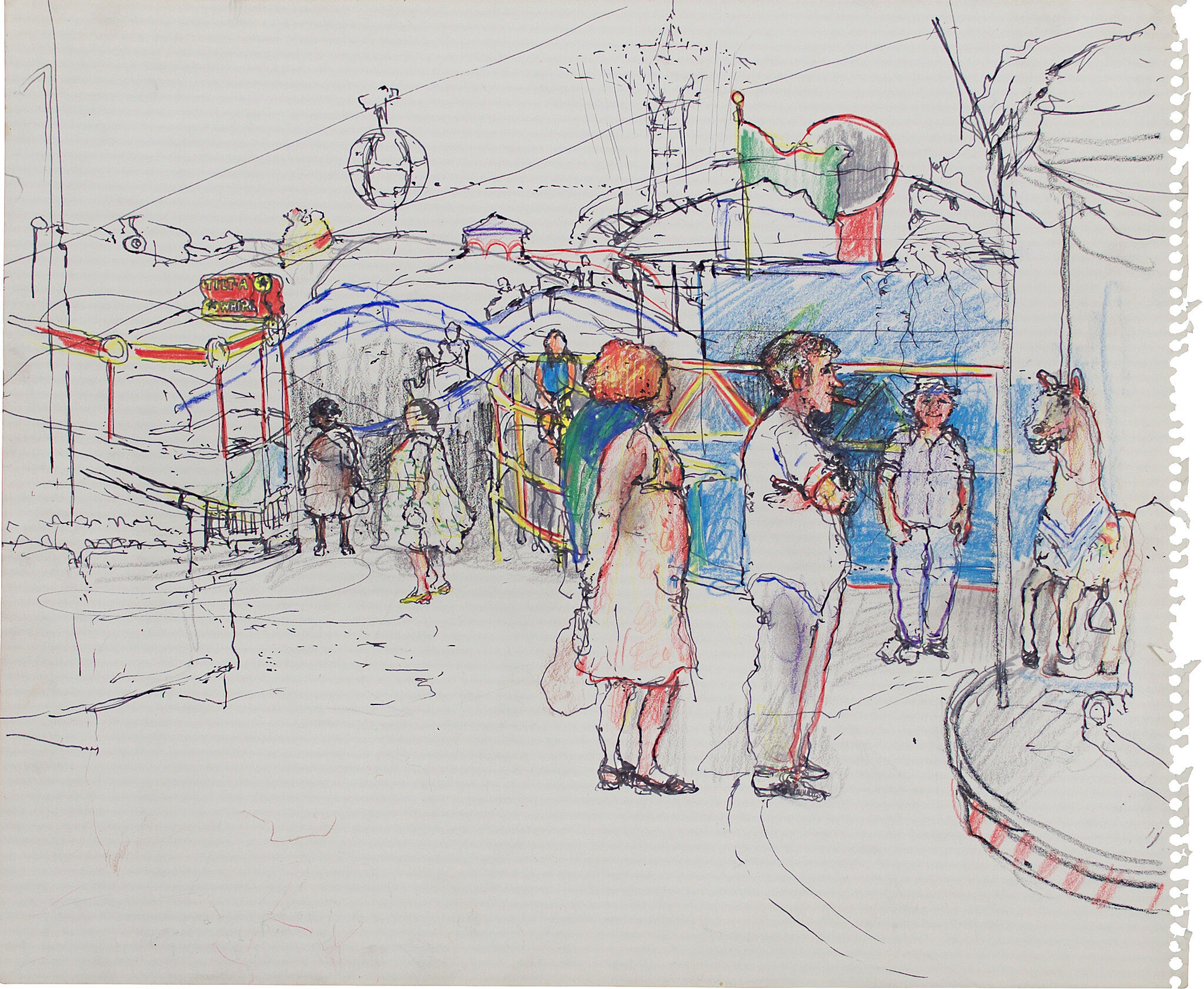 June Leaf's Coney Island, Pen and ink and colored pencil on paper.