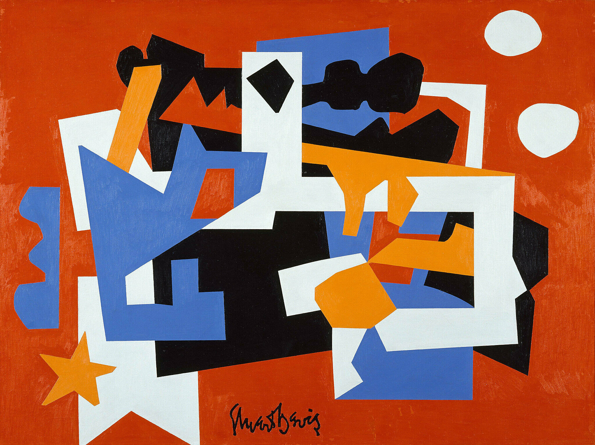 An artwork by Stuart Davis. An abstract, colorful view of a street scene