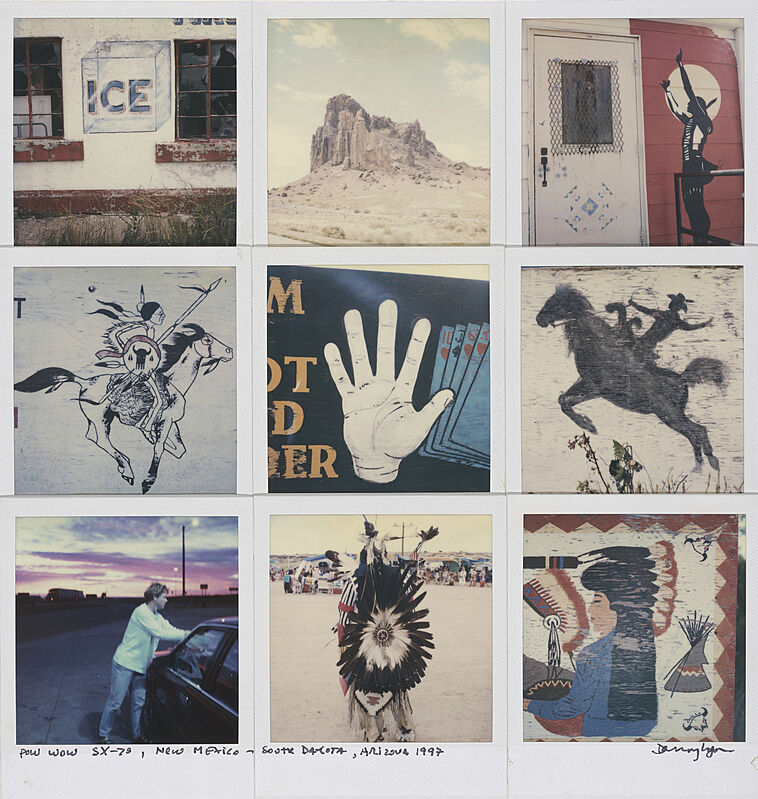 A work by Danny Lyon. Polaroid images stitched together in a grid pattern