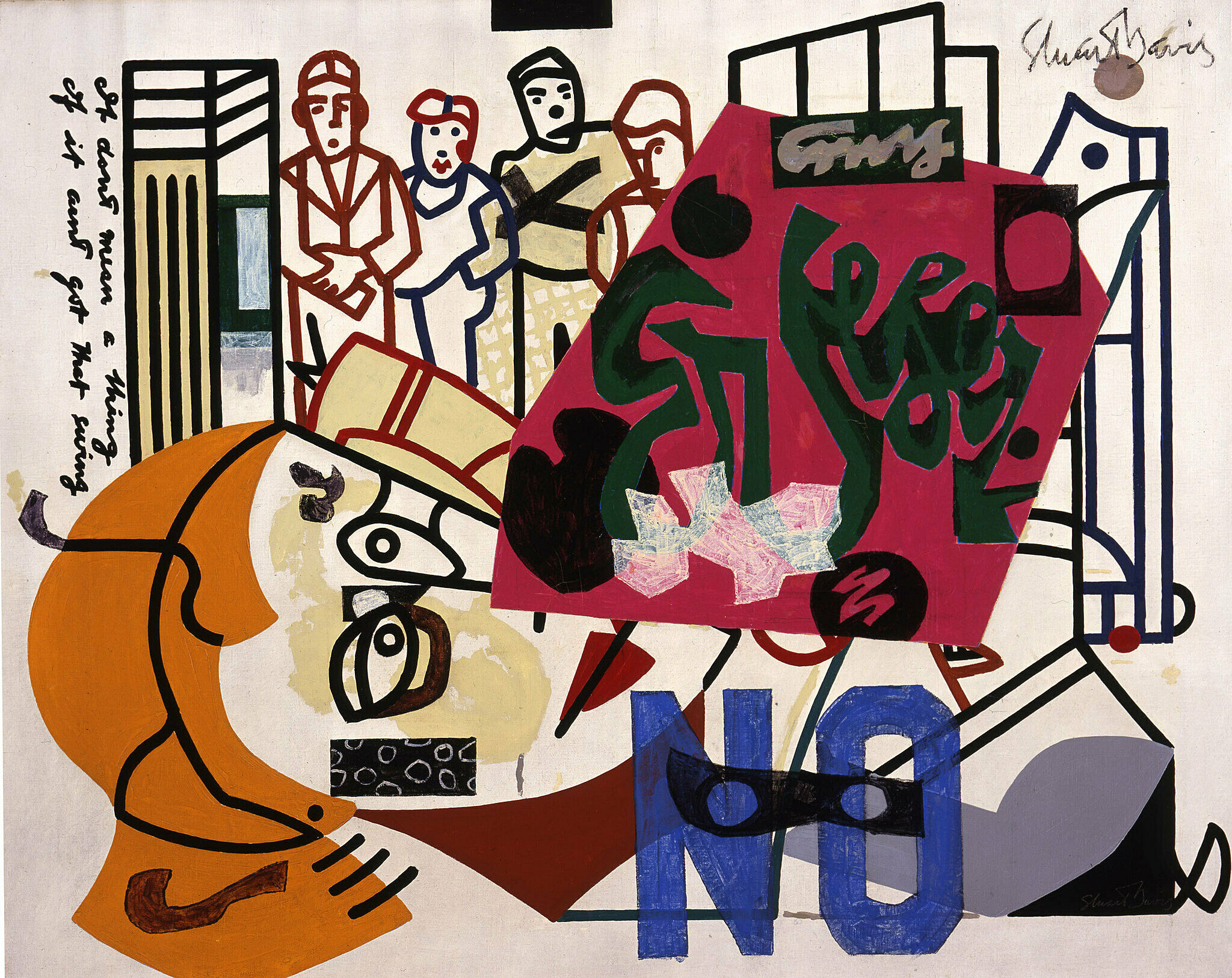 A work by Stuart Davis depicts a figurative and abstract scene
