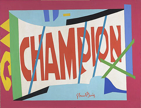 "A colorful painting of the text ""Champion."""