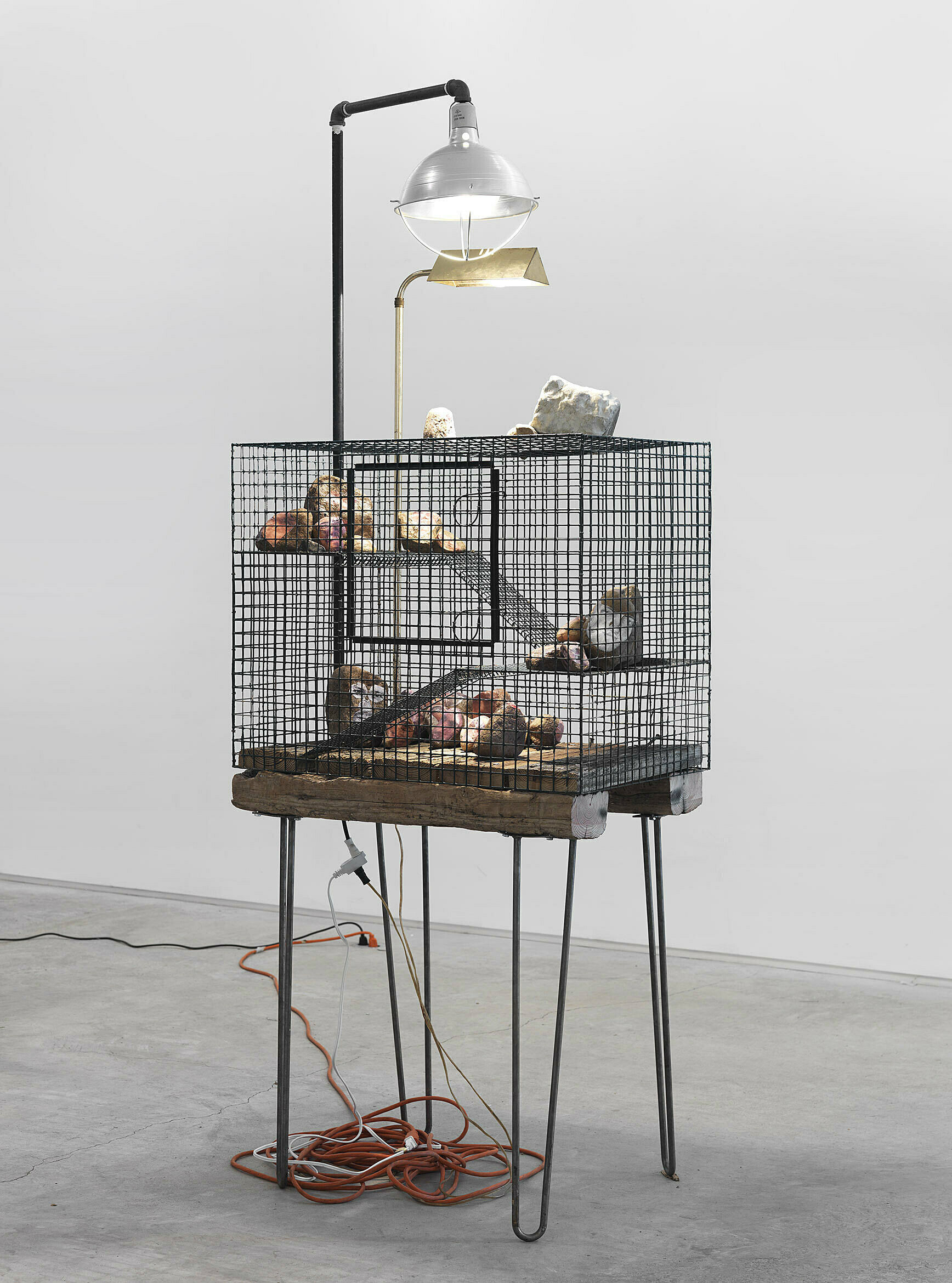 Win McCarthy's Sunday Afternoon at 5CR, metal cage, rocks with collage, and lights on table.