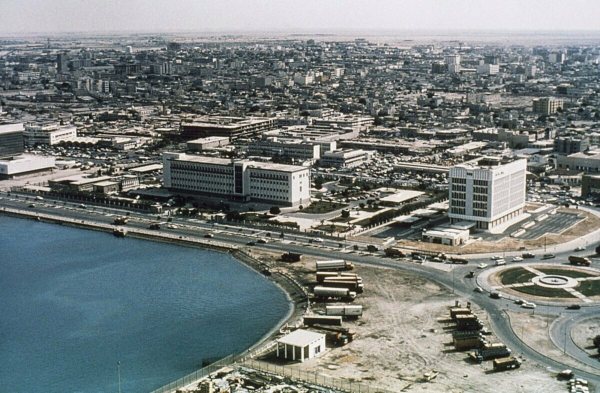 Skyline view of Doha in 1977