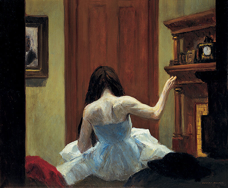 Painting by Edward Hopper. Painting of a woman in dress facing away from the viewer.