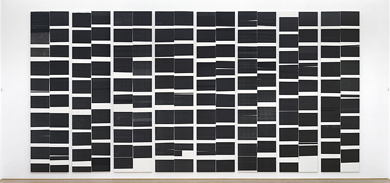 Eight panels of black inkjet prints by Wade Guyton. Each panel consists of black rectangles in a grid pattern.