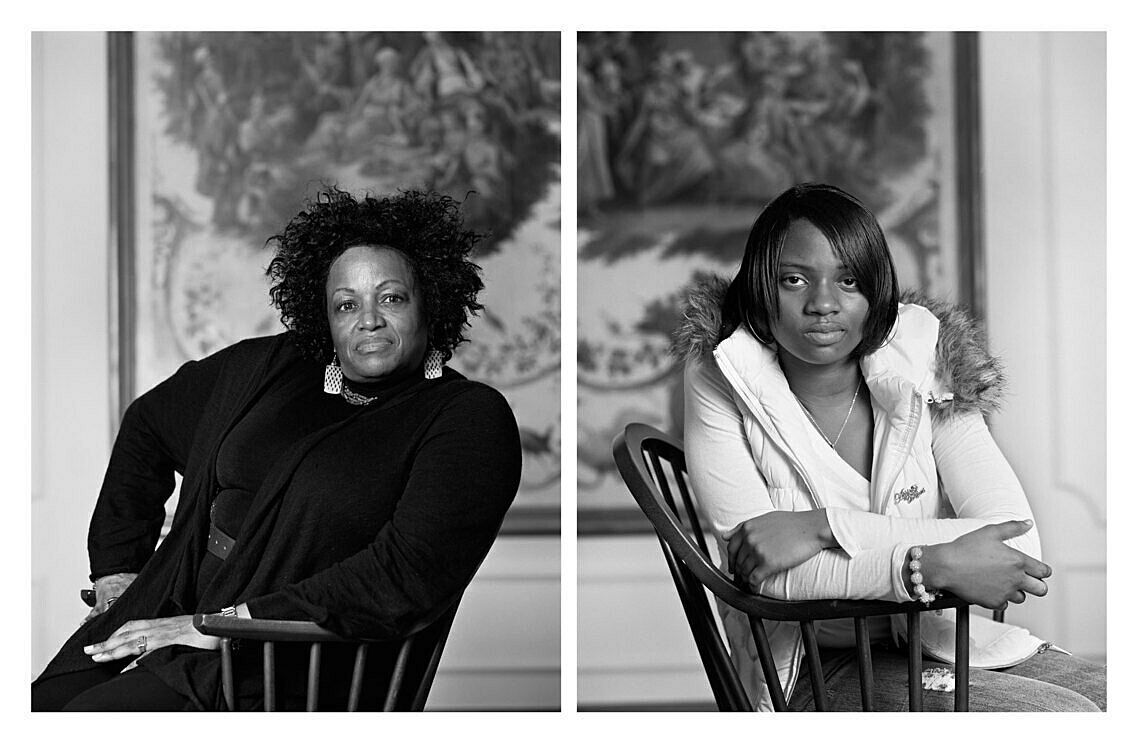 Two black and white portraits by Dawoud Bey of two woman sitting in chairs.