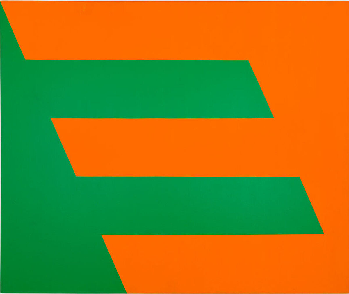 A green and orange painting.