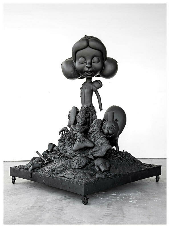 A sculpture of a distorted scene of Snow White.