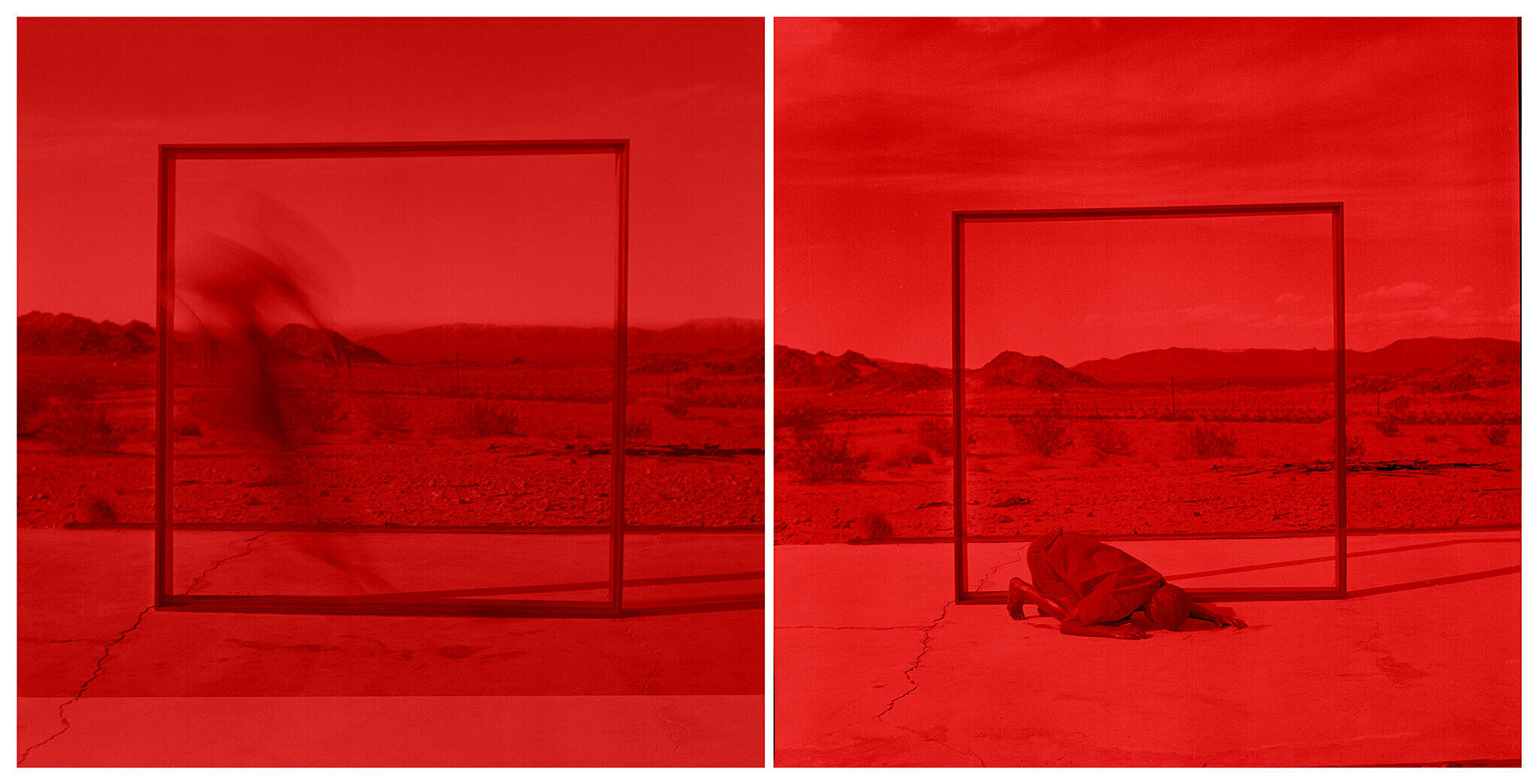 Two photographs by artist MPA. A desert landscape is the backdrop as a figure crouches on the ground.