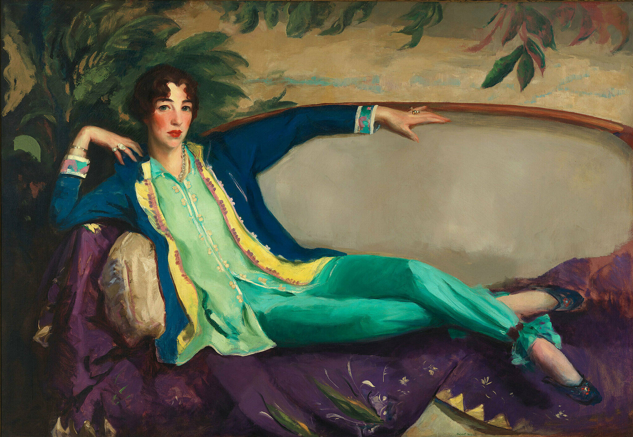 A portrait of Gertrude Vanderbilt Whitney lounging on a couch.