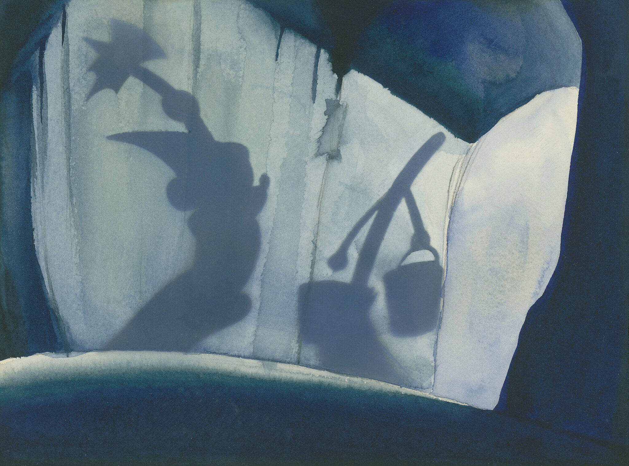A watercolor of a sketch from the film Fantasia. Mickey Mouse and a walking broom are seen in shadow