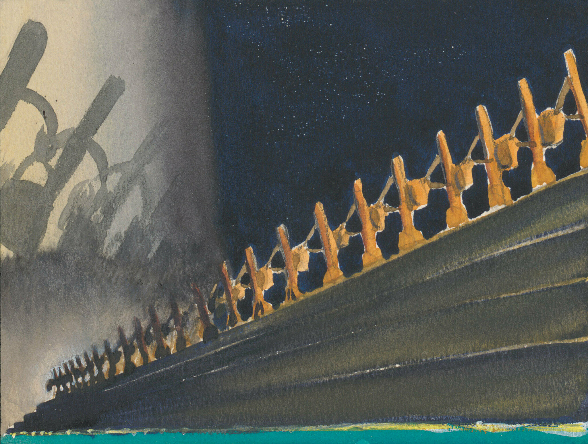 A watercolor sketch from the film Fantasia. Brooms carry buckets of water across the frame