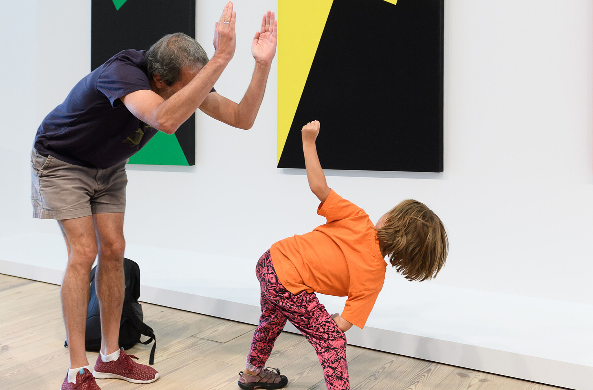 Families create artwork in the galleries
