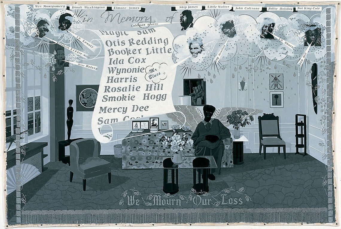 A work by Kerry James Marshall. A figure sits in a domestic room surrounded by the faces of cultural and political pioneers of the 1950s
