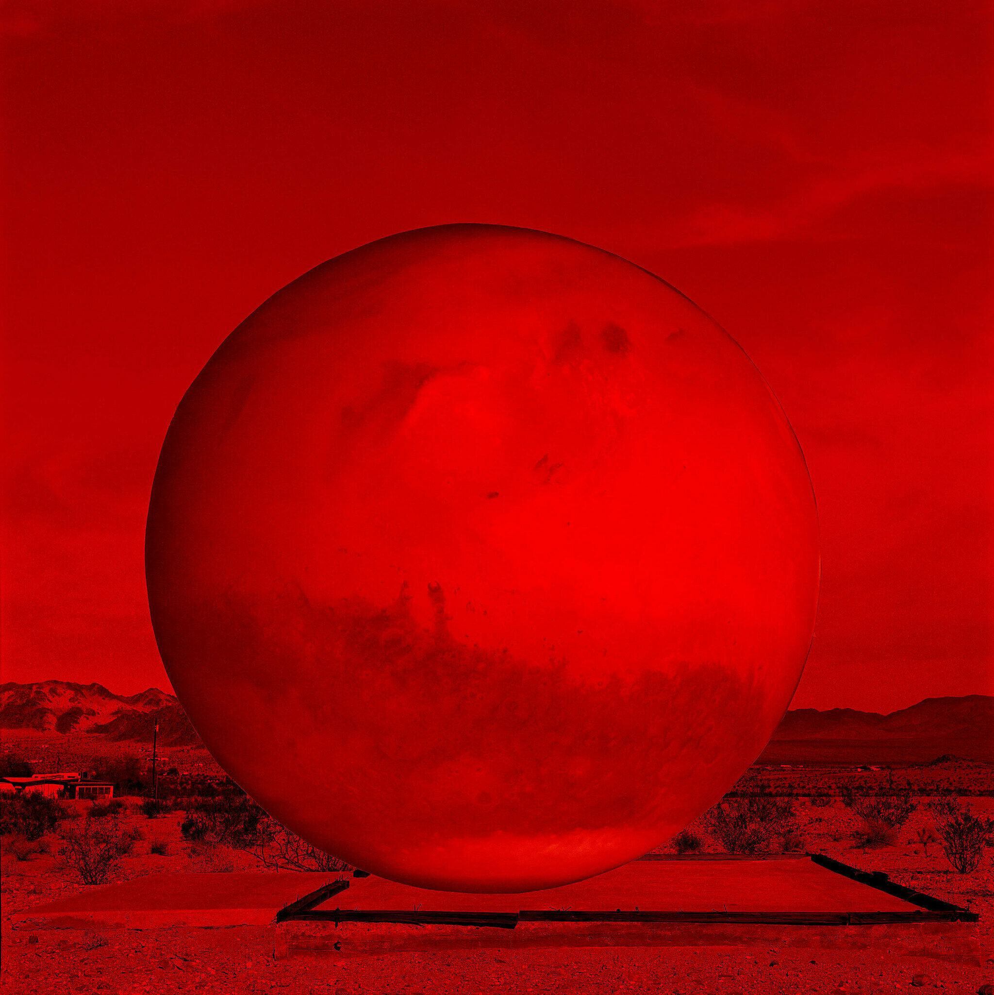 A work by artist MPA. The planet Mars is depicted on a platform