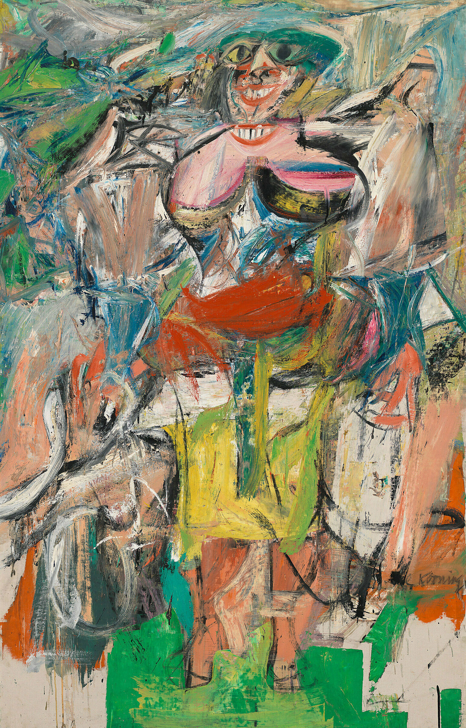 A work by Willem de Kooning. An abstract painting of a woman with a bicycle depicted in vivid colors