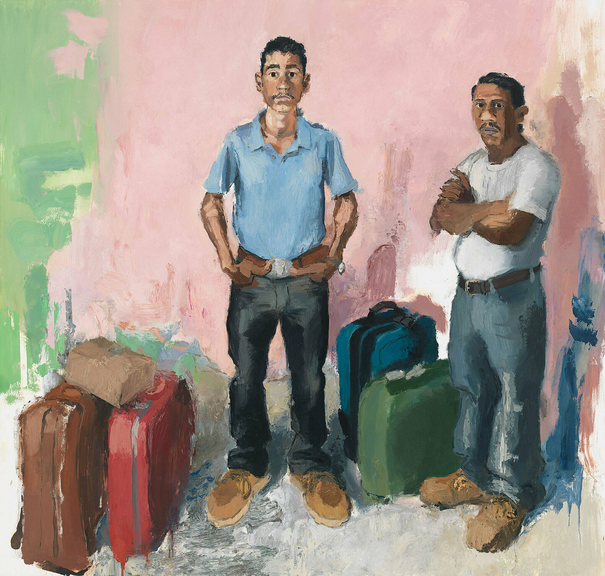 A painting by John Sonsini. Two central figures, Byron and Ramiro, stand with their arms crossed and hands on their hips. Each has two or three packed suitcases next to them