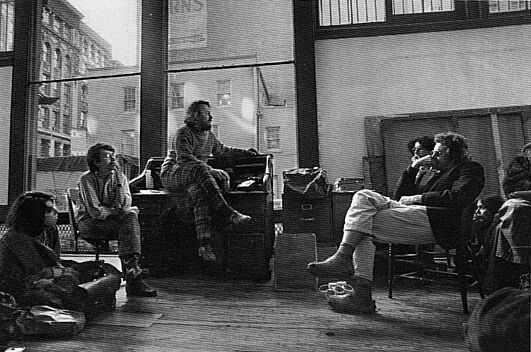 A group of students gathered in Donald Judd's studio