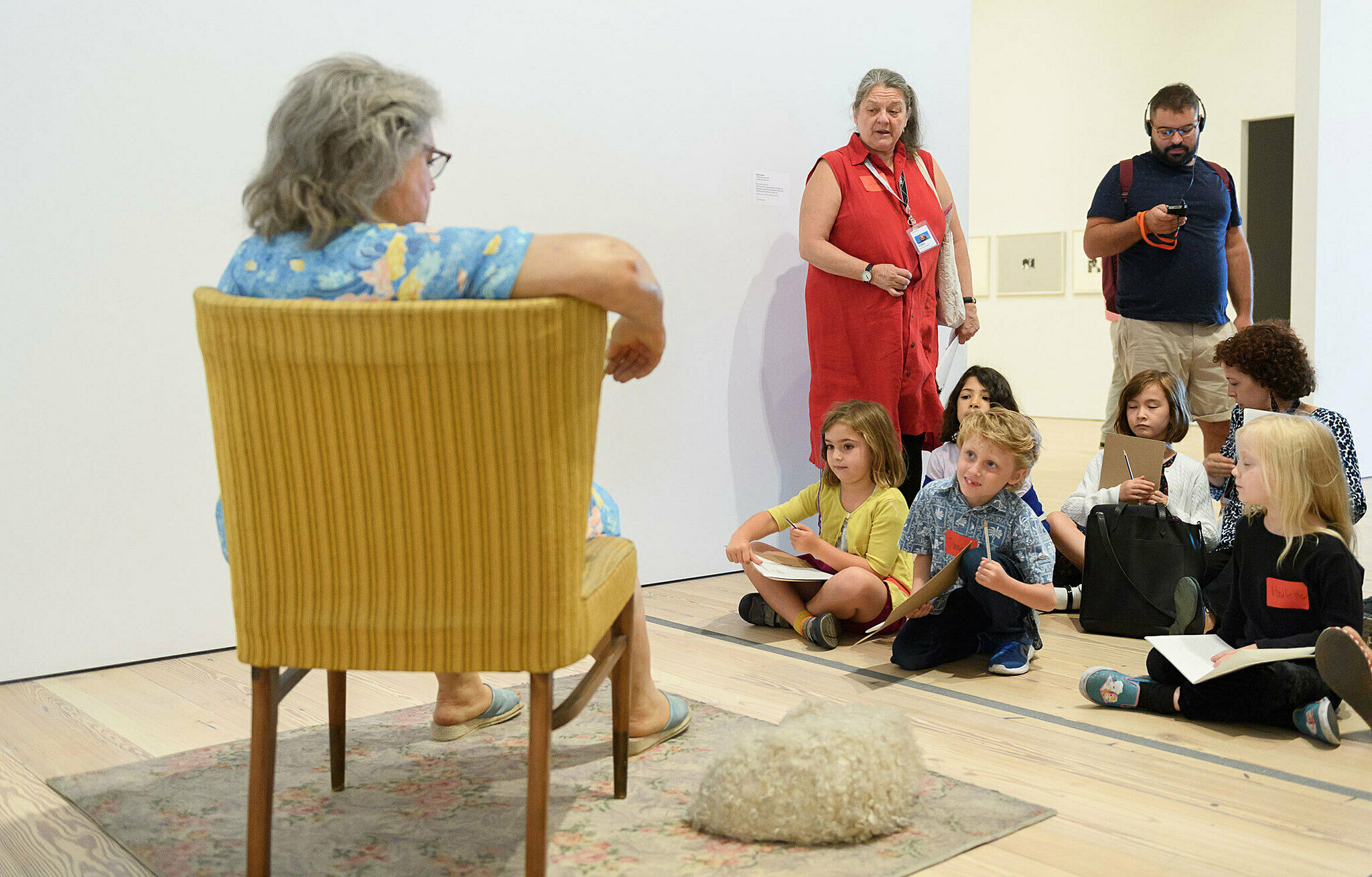 Families sketch together in the galleries