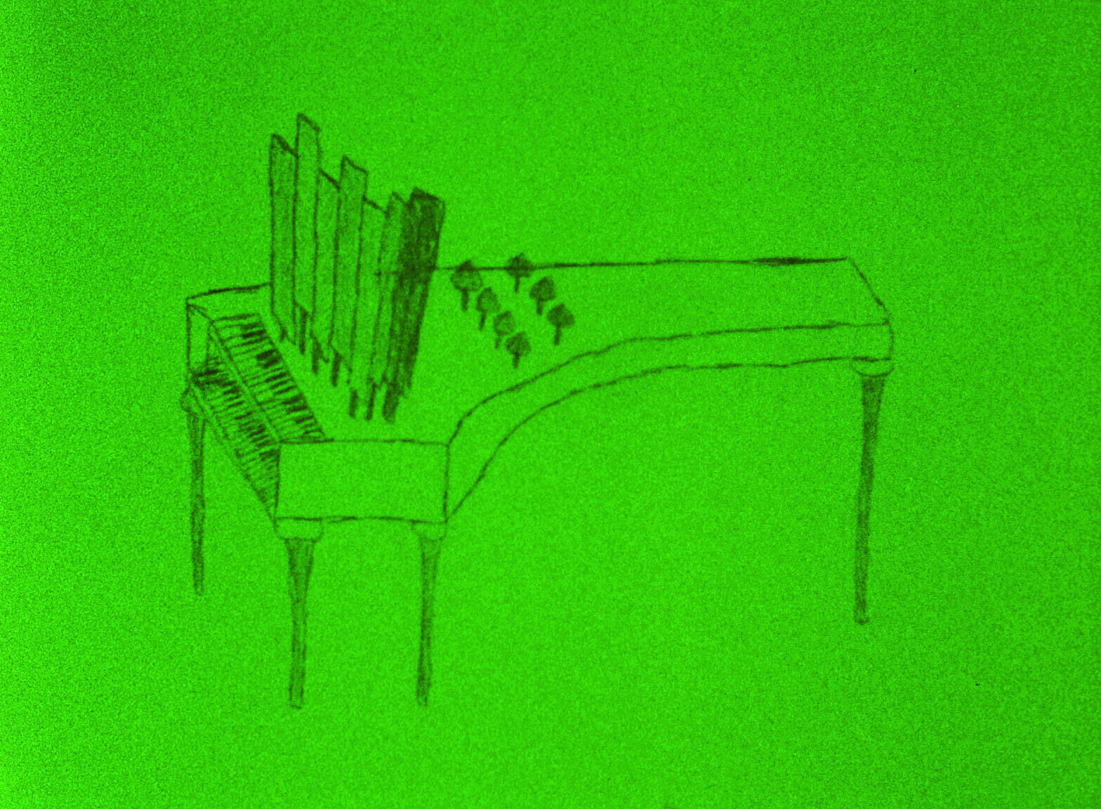 A still from a film work by Jenny Perlin. A sketch of a piano with sheet music is depicted against a vivid green background