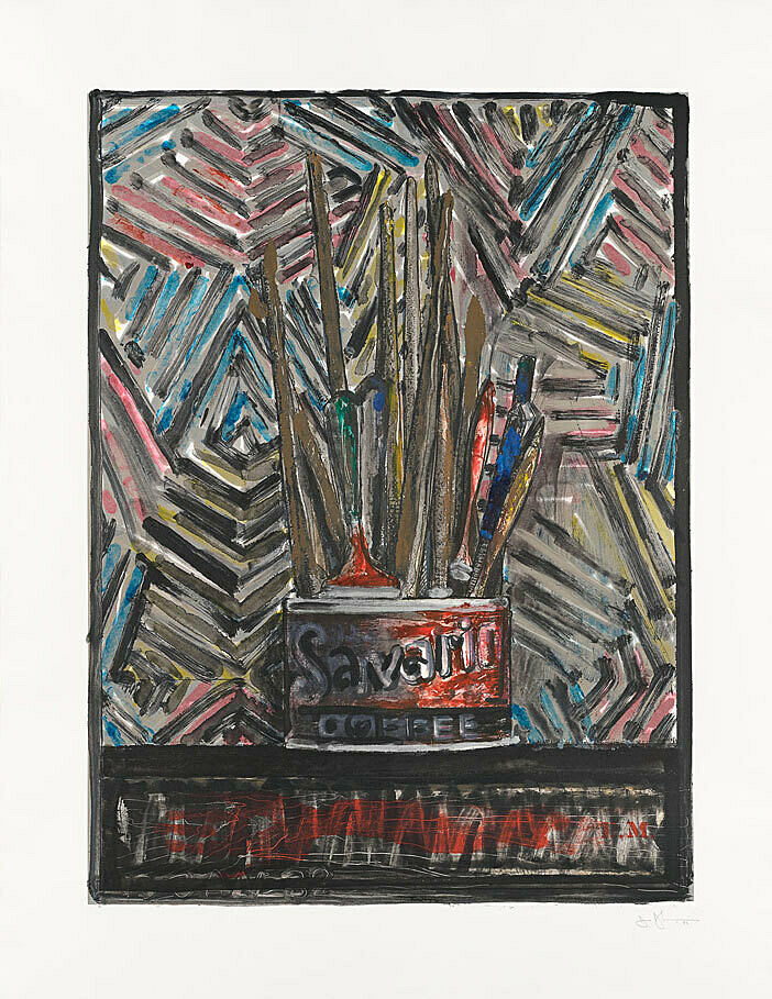 A work on paper by Jasper Johns. Artists' tools are arranged in a coffee tip with the label that reads: Savarin