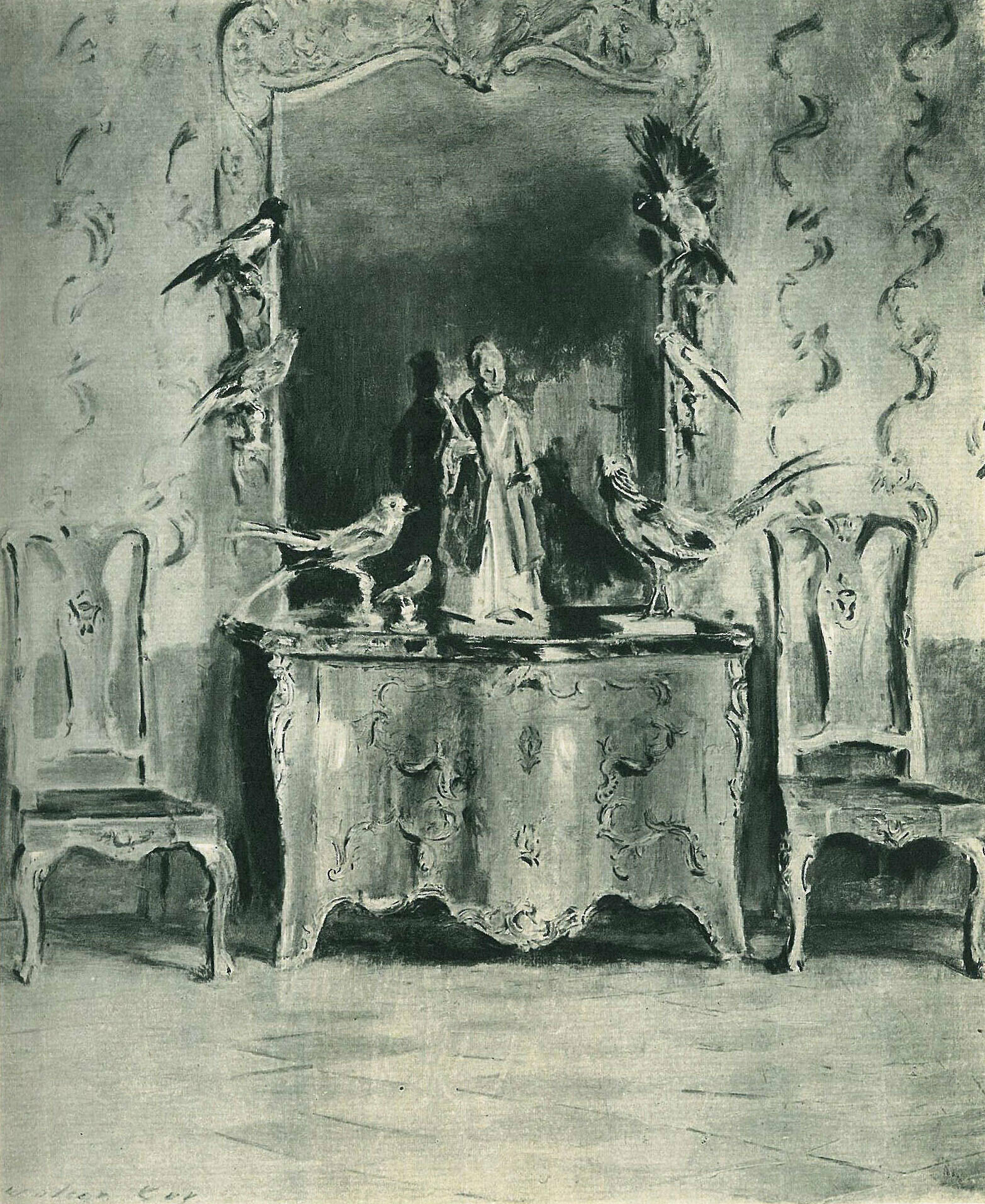 A muted painting of an ornate interior