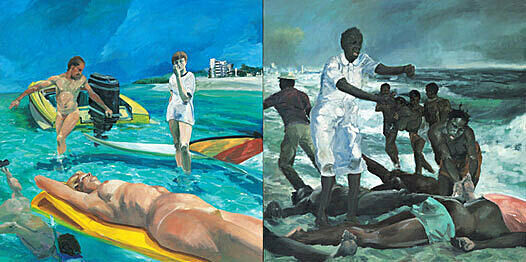 A painting depicting people having fun at the beach on the left and refugees at the beach on the right.
