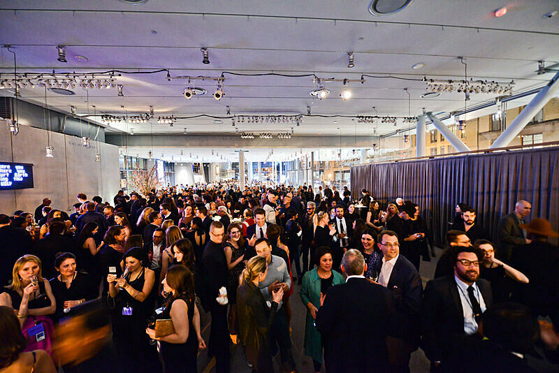 Overhead shot of guests at museum event