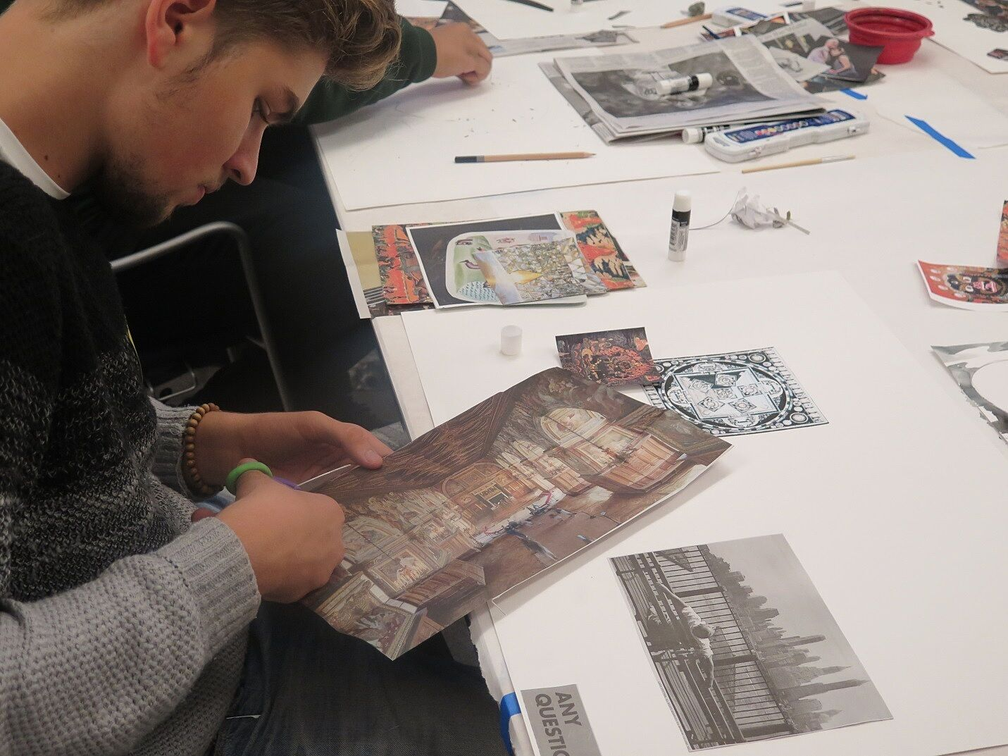 Teen working on a project
