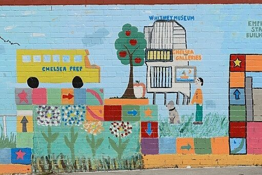 mural of school bus with trees