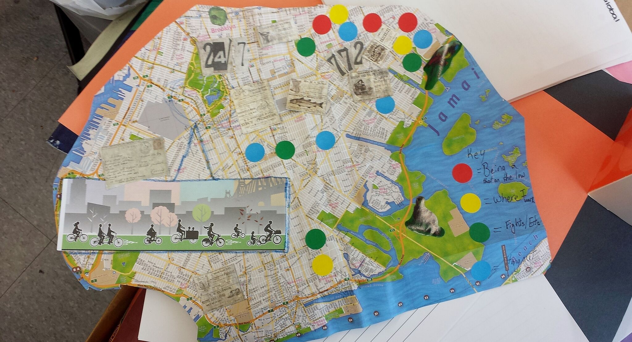 Map with stickers and collage.