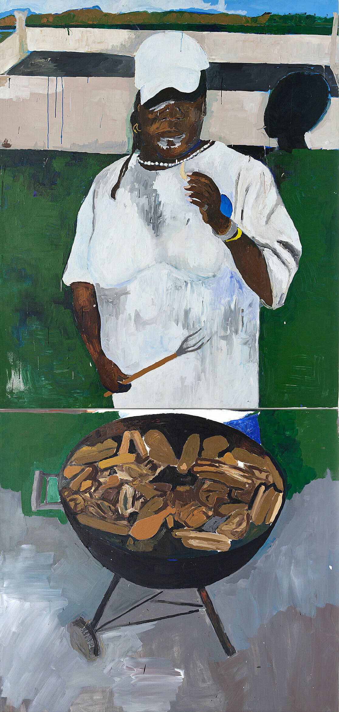 Painting of a man grilling meat