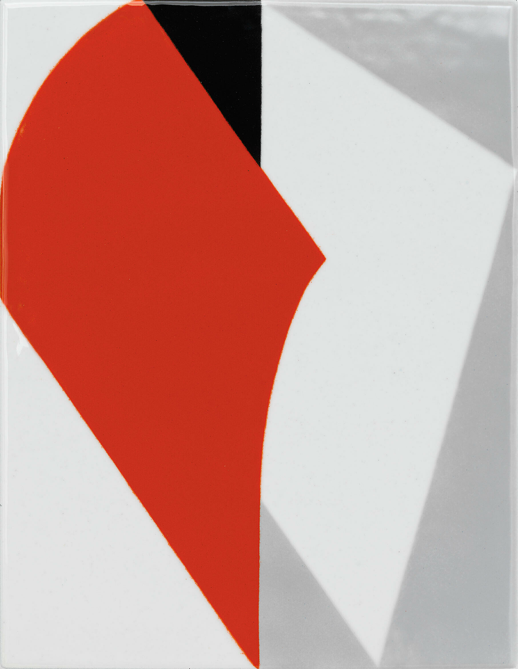 Abstract piece in red, black, white, and gray