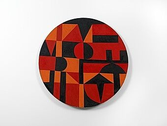 Red, orange and black artwork by Carmen Herrera.