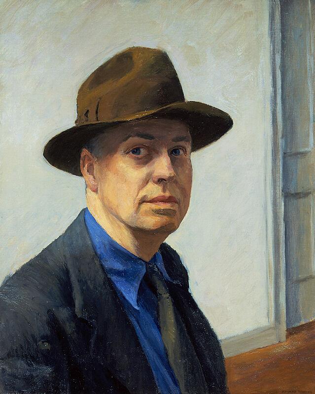 Self-portrait painting by Edward Hopper.