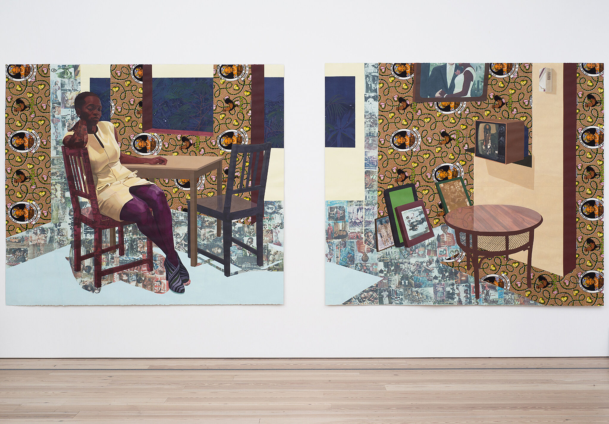 A collage of a woman sitting at a table next to a collage of an empty table with portraits on the wall in the background.