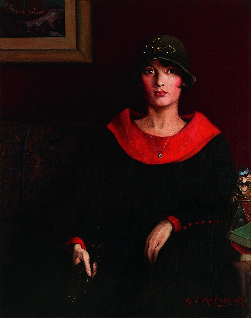 Painting of a woman in a hat by Archibald J. Motley Jr.