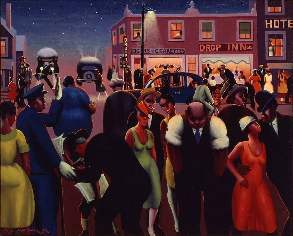 Painting of a city scene by Archibald J. Motley Jr.