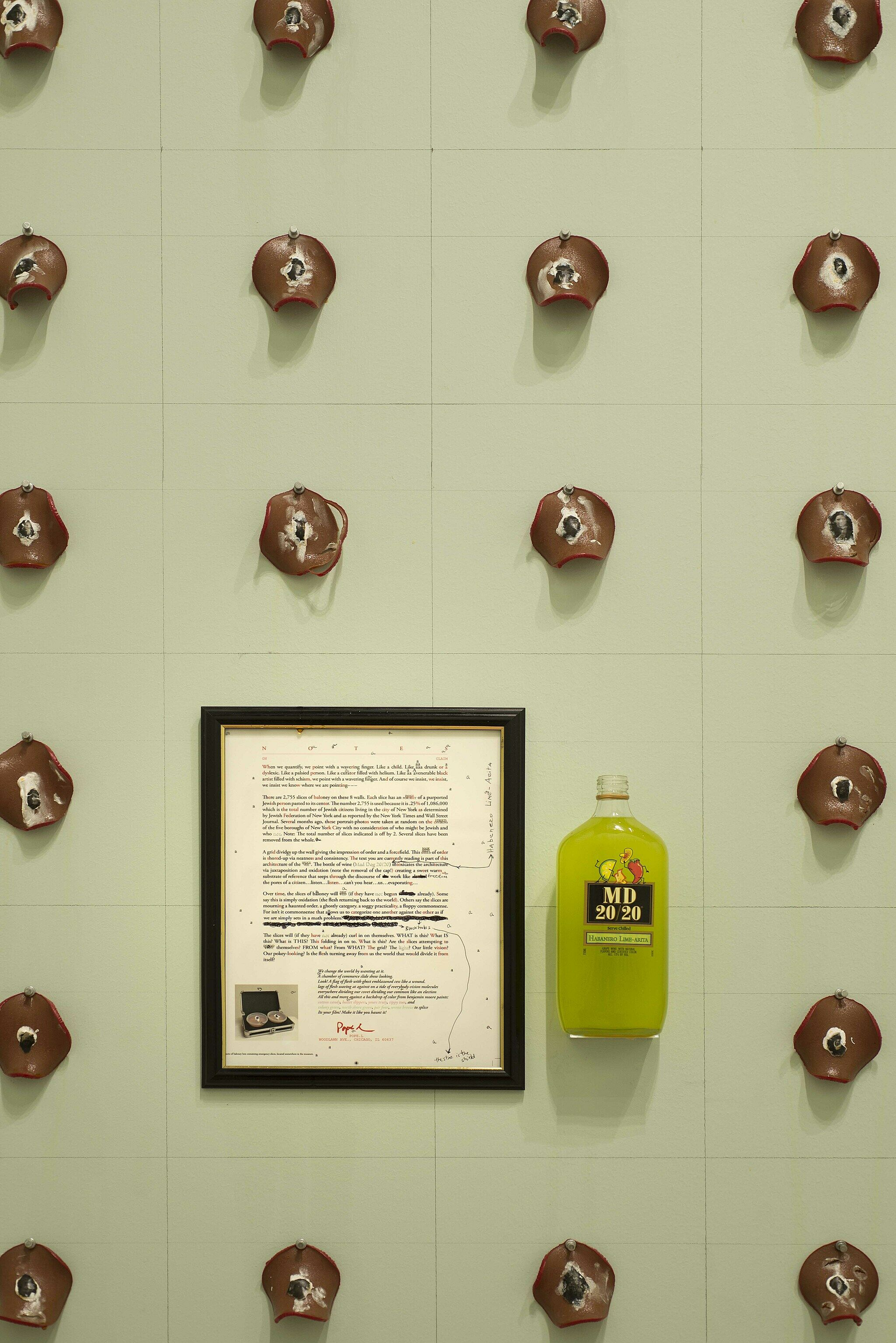 Grid-like structure of objects hung on wall with framed document and liquor bottle