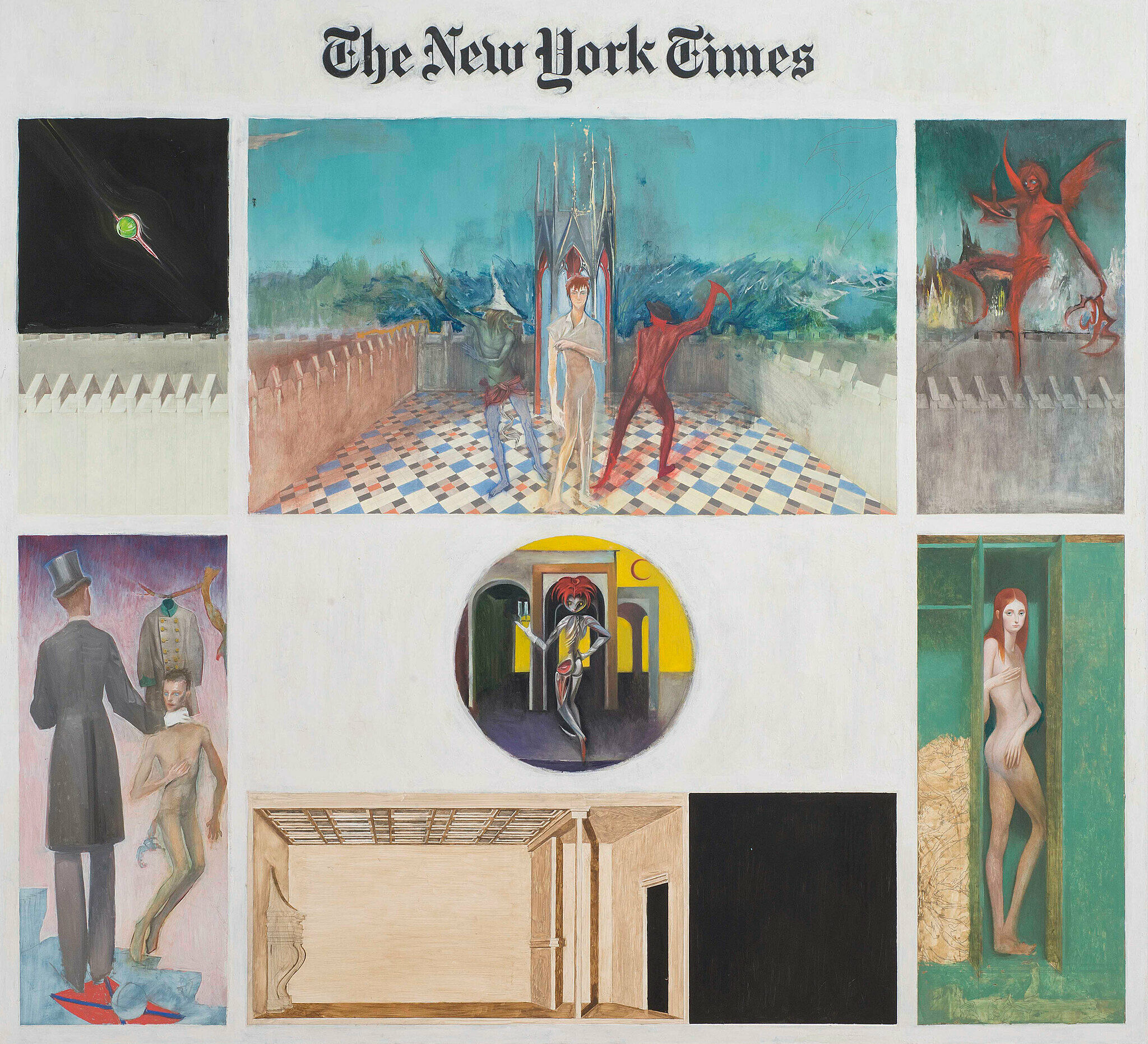 "Painted images in a grid below ""The New York Times"" newspaper logo at the top"