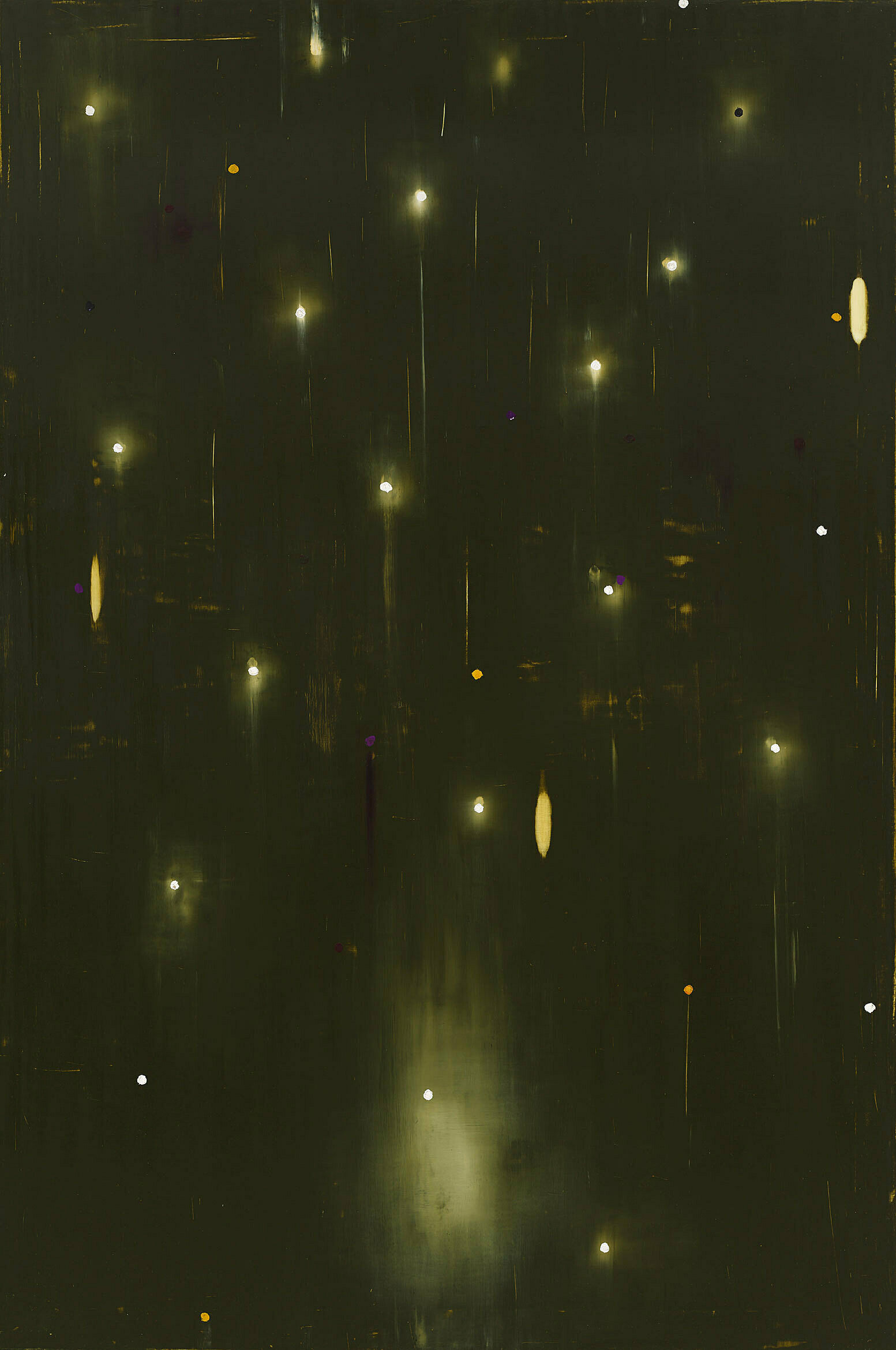 Painting of bright stars falling from the sky.