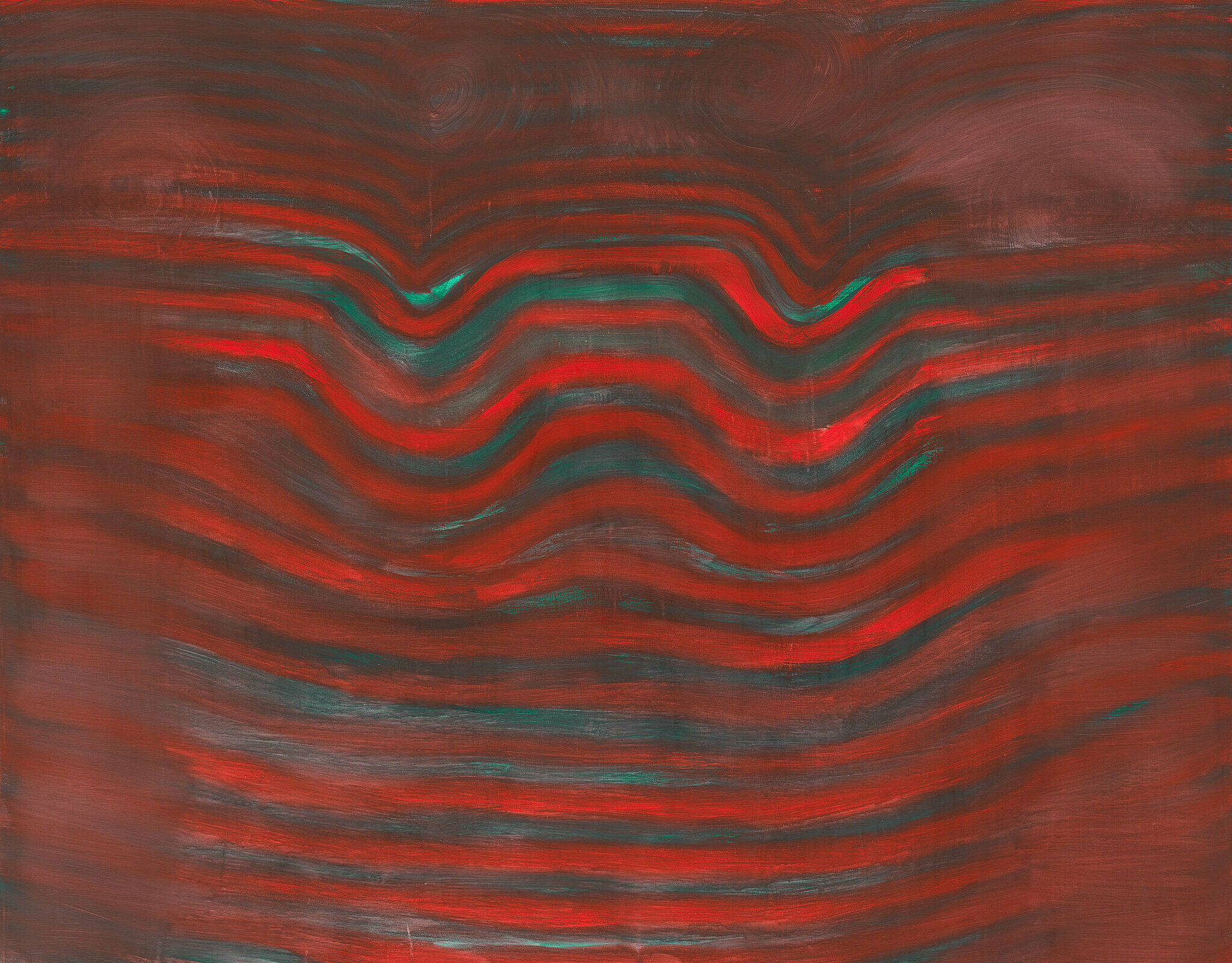 Wavy lines of turquoise and red.