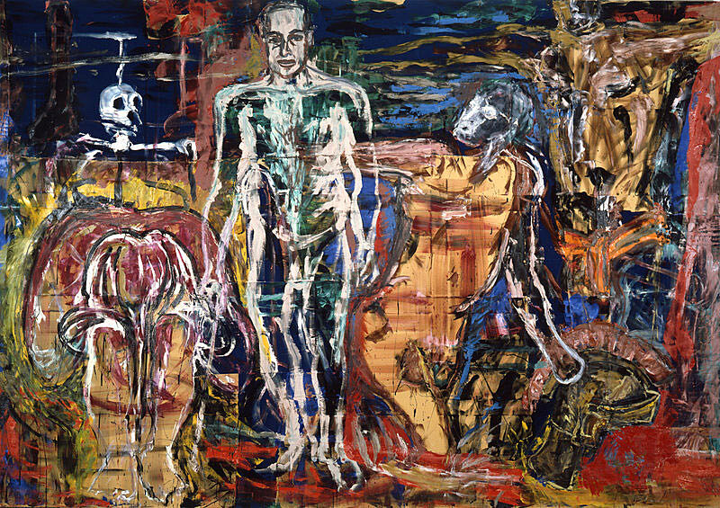 Bodies in various states with an abstract background behind.