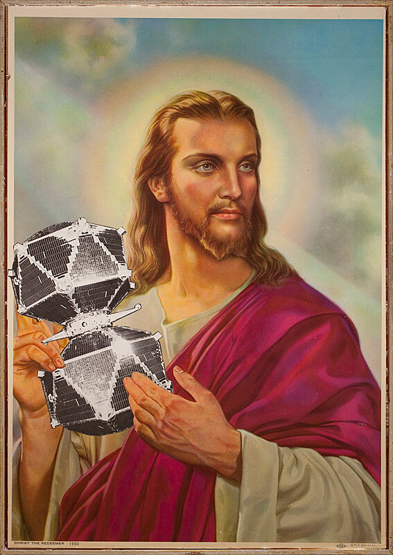 Artwork of Jesus holding a geometric sculpture.