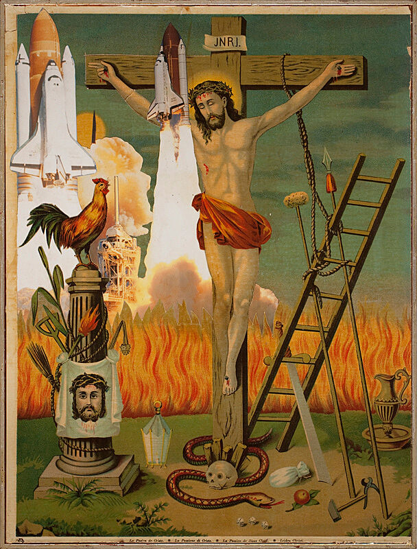 Artwork of Jesus on the cross with fire behind him.